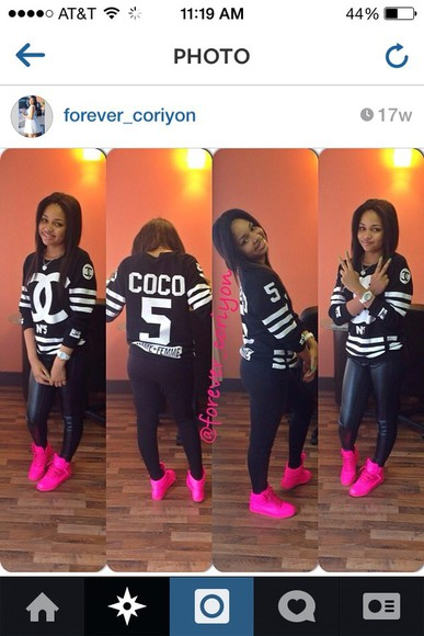 blouse shoes cute leggings black leather shoe game matte black matalic crewneck chanel black hot pink forever_coriyon ootd instagram style dope
