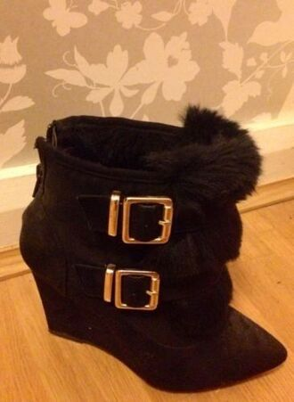 shoes boots wedges black fur gold buckle gothic wedge boot black wedge boot pointy toe heels goth sexy