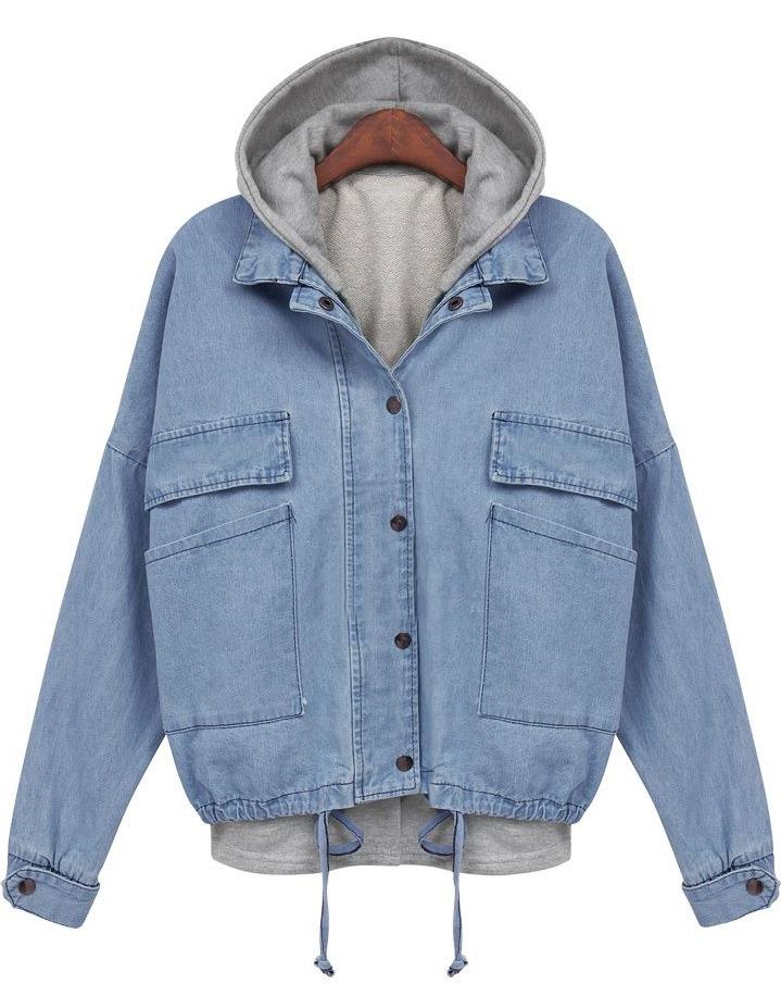 d69f6d9af5 Blue Hooded Long Sleeve Drawstring Denim Outerwear -SheIn(Sheinside)