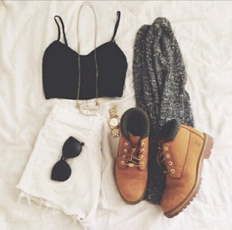 top white shorts white skirt high waisted gold chain boots grey white black gold summer gray cardigan cardigan bralet top black crop top gold watch sunglasses timberlands boots coat dress shoes