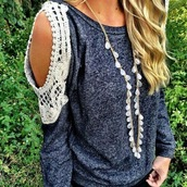 shirt,open shoulder,blue shirt,white lace top,sweater,lace,grey,country,jewels