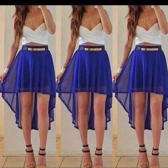 skirt blue blue shirt
