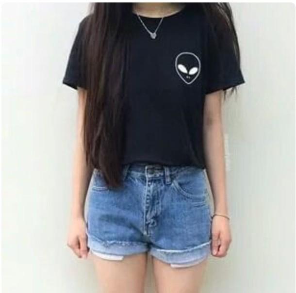 Top T Shirt Alien Black Crop Top Crop Tops Crop