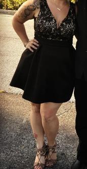 dress,v neck,fit and flare dress,black dress