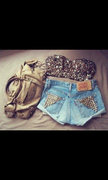 blouse High waisted shorts sparkly crop top studded shorts