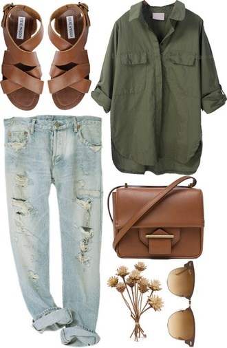 shoes brown gladiators steve madden summer sandals bohemian gypsy casual blouse jeans shirt outfit clothes boyfriend jeans ripped dark green forest green button up loose cuffed cuffed sleeves loose-fitting pants skinny pants denim nail accessories nail polish bag light blue boyfriend jeans green loose material short sleeve found on pinterest roll up sleeve two pockets