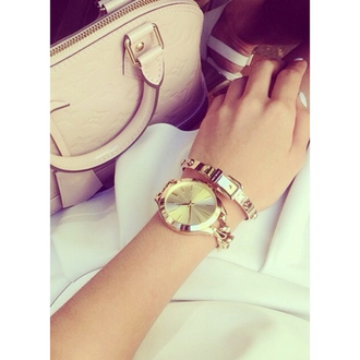 bag beige jewels bracelets classy handbag gold watch white dress luxury louis vuitton