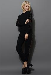 sweater,jewelry embellished,tracksuit,black