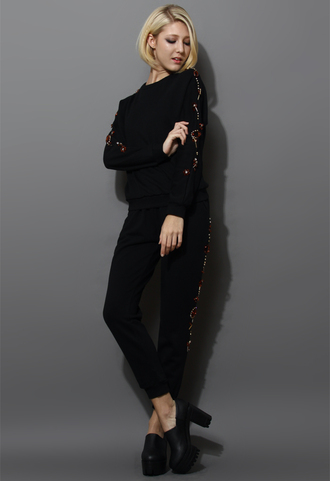 sweater jewelry embellished tracksuit black