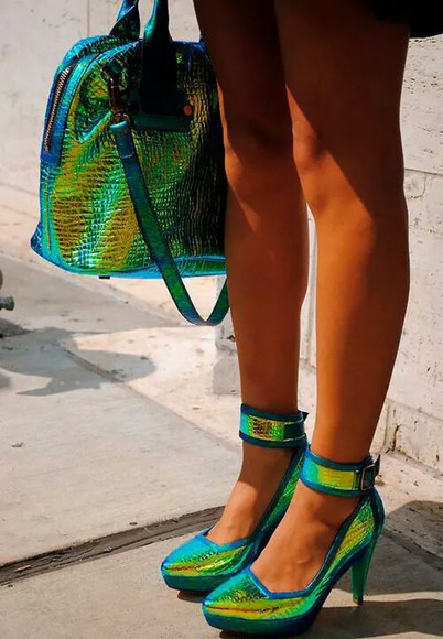 edgy shoes bag neon multicolor snake shiny green techno high heels