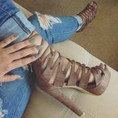 shoes,suede high heels,nude,heels,fashion,jeans,summer,fall outfits,spring,gold,brown suede heels,laces,heels with laces,manicure,ripped jeans,couch,ankle heels pink