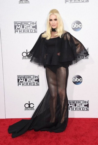 dress sheer see through dress black dress gwen stefani ruffle amas 2015
