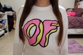sweater,odd future,shirt,long sleeves,donut,pink,help love bethany mota motavators,india love,india westbrooks