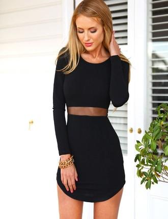 dress mesh black dress little black dress short dress long sleeves long sleeve dress