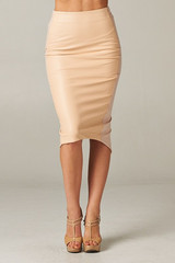 Nia nude leather panel pencil skirt