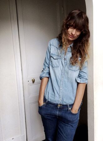 shirt caroline de maigret model fashionista blue shirt denim shirt jeans blue jeans office outfits