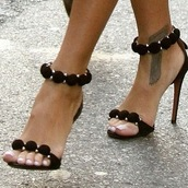 shoes,tattoo,tan,heels,feminine,hight heels,high heels,black,black high heels,sandales,sandals,high heel sandals,sneakers,straps,leschaussuresdisa.com,alaia,black pom pom heels,brand,celebrity style,alaia shoes,which site can i purchase these from m