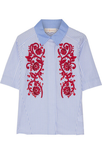 shirt embroidered cotton blue top