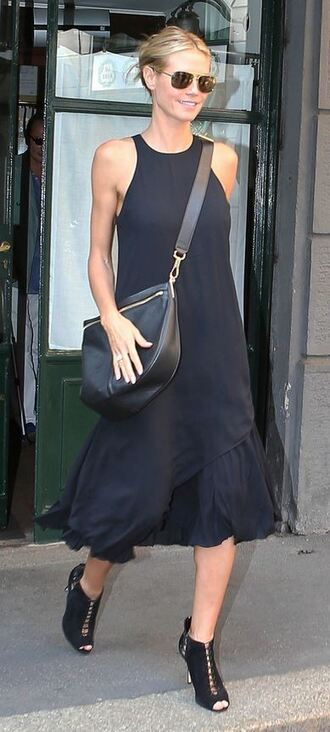 dress black dress all black everything heidi klum booties midi dress asymmetrical dress