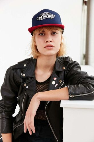 hat cap leather jacket black leather jacket snapback vans perfecto