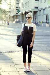 pants,jumpsuit,black and white jumpsuit,persunmall