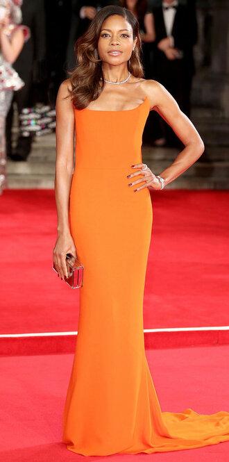 dress gown bustier bustier dress prom dress orange orange dress naomie harris