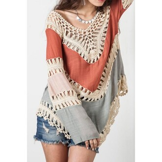 blouse women long sleeve crochet knitwear women long sleeves crochet crochet top knitwear crochet knitwear sexy necklace casual casual blouse orange blus blue girl girly summer party pool beach knitwear with stars sweater orange knitwear top fall outfits new clothes