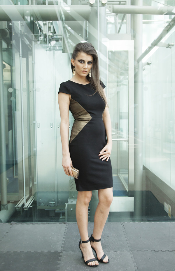london bodycon little black dress gold sexy black
