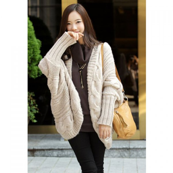 Fashion cable knit long sleeves open front winter cardigan for women