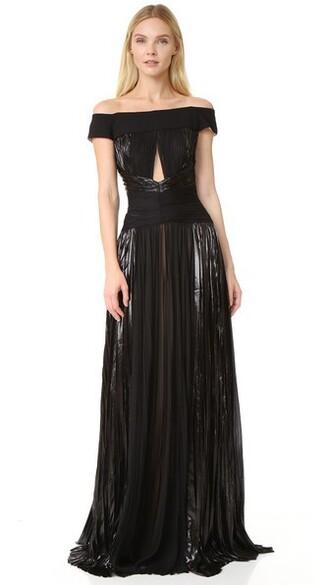 gown off the shoulder noir dress