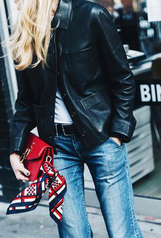 jacket tumblr black jacket black leather jacket leather jacket denim jeans blue jeans belt bag red bag j w anderson scarf silk scarf