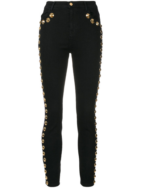 Amen studded women spandex cotton black pants