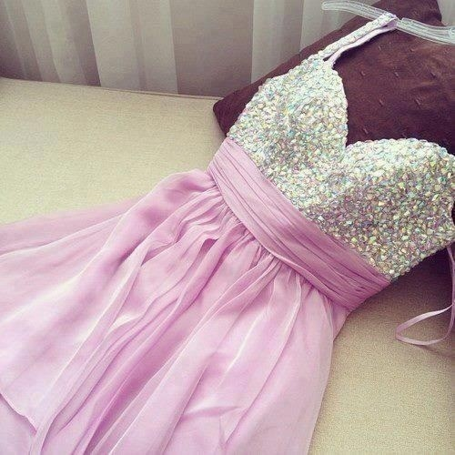 Sweet Purple Mini Chiffon Prom Dress With Beadings on Luulla