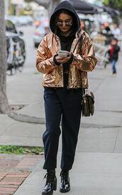 jacket,metallic,gold,pants,hoodie,streetstyle,vanessa hudgens