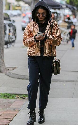 jacket metallic gold pants hoodie streetstyle vanessa hudgens