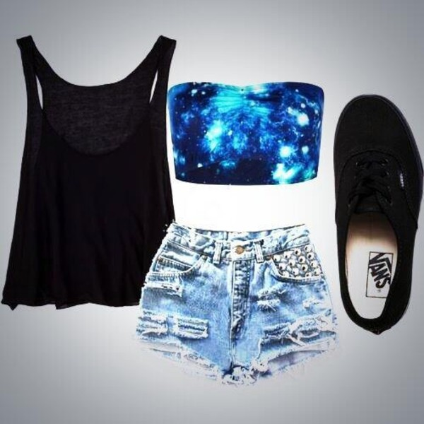 tank top bandeau tank top perfect shorts underwear galaxy print crop tops shirt galaxy top black top sports bra black t-shirt top galaxy print