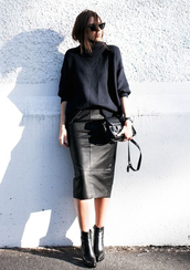 skirt,tumblr,midi skirt,black leather skirt,leather skirt,top,black top,bag,black bag,boots,pointed boots,black boots,ankle boots,all black everything,office outfits,fall outfits