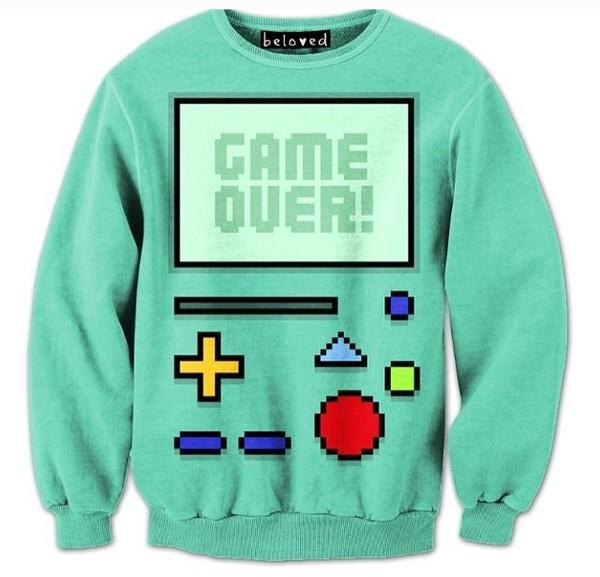 sweater sweatshirt game over gameboy shirt game boy