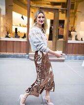 sweater,sequin skirt,pointed toe,midi skirt,knitted sweater,white heels,handbag
