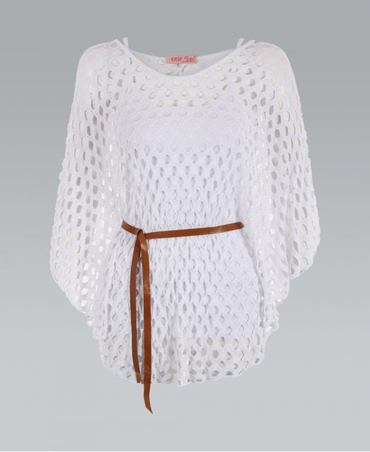 KRISP Oversized 2 in 1 Belted White Crochet Batwing Top - KRISP from Krisp Clothing UK