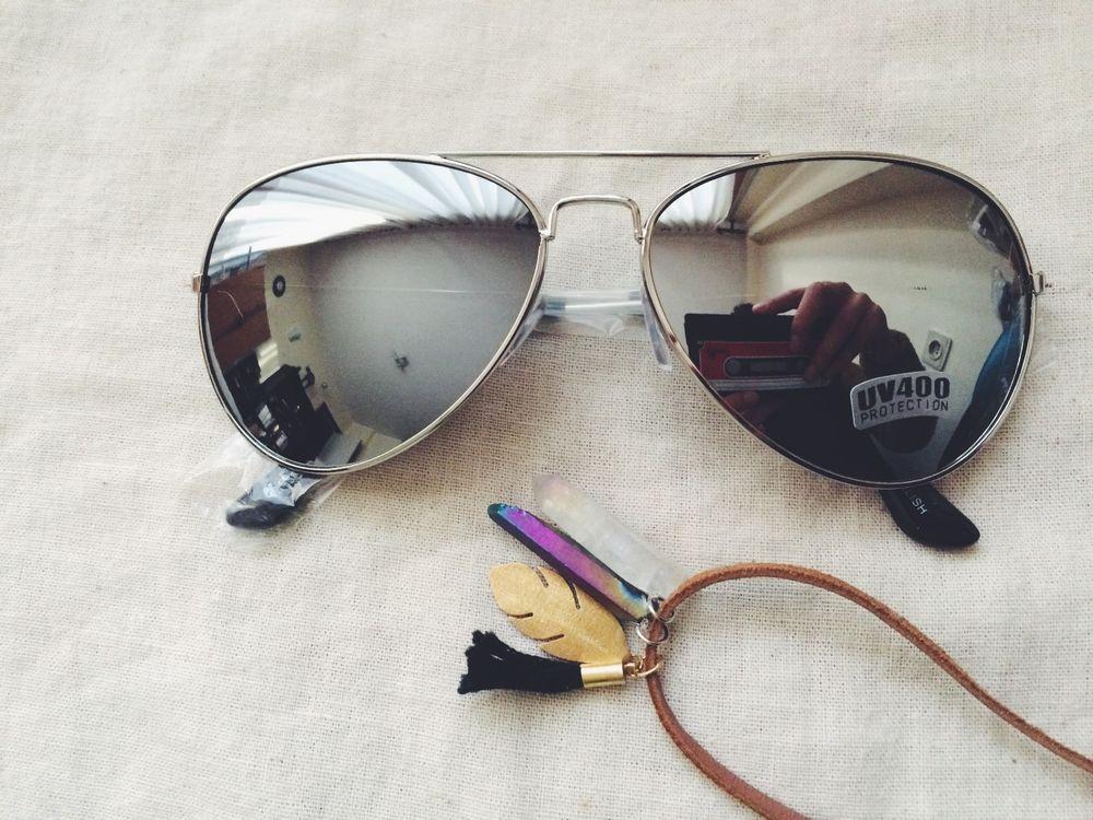 Retro aviator mirrored silver lens glasses vintage classic silver metal frame