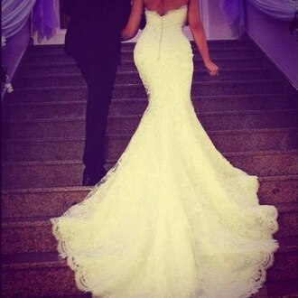 dress bride mermaid bridal gown wedding dress lace wedding dress fishtail dress white sparkle out back