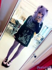 tights,purple,pastel,pastel goth,pastel purple,bats,lilac,kawaii,dress,cute,shoes,hair accessory,shirt,black
