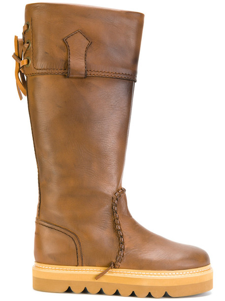 See by Chloe knee-high boots high women leather brown shoes