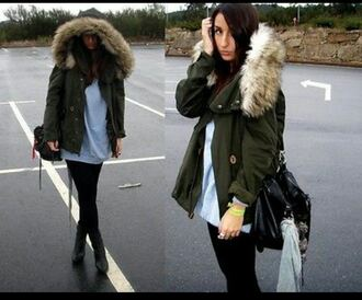 blogger khaki jacket parka fur coat