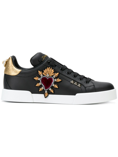 Dolce & Gabbana women sneakers leather black shoes