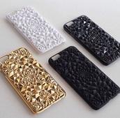 phone cover,gold,white,black,matte,studs,iphone 5 case,mandala,texture,caleidoscope,phone,iphone,iphone 5s,i phone case