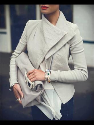 jacket leather grey beige leather jacket bag coat
