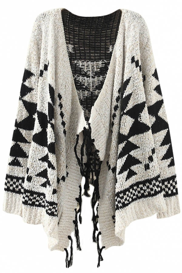 Fancy Geo Knit Cardigan - OASAP.com