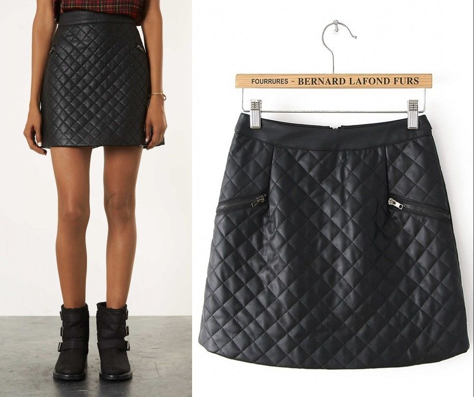 e047baf4b New Sexy Womens Black White Faux Leather Look Quilted Mini Skirt Size s M L  XL | eBay